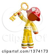 Orange Man Firefighter Holding Up A Key On A White Background