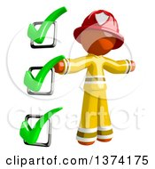 Orange Man Firefighter By A Checklist On A White Background