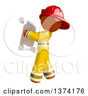 Orange Man Firefighter Reading A Scroll On A White Background