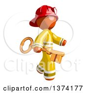 Orange Man Firefighter Carrying A Key On A White Background