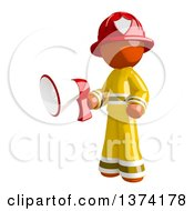 Clipart Of An Orange Man Firefighter Holding A Megaphone On A White Background Royalty Free Illustration by Leo Blanchette