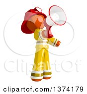 Clipart Of An Orange Man Firefighter Announcing With A Megaphone On A White Background Royalty Free Illustration by Leo Blanchette