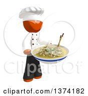 Orange Man Chef Holding A Bowl Of Noodles On A White Background
