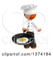 Orange Man Chef Frying An Egg In A Pan On A White Background