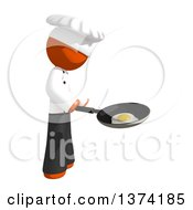 Clipart Of An Orange Man Chef Frying An Egg In A Pan On A White Background Royalty Free Illustration