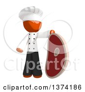 Orange Man Chef With A Giant Beef Steak On A White Background