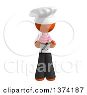 Orange Man Chef Holding A Cupcake On A White Background