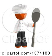 Orange Man Chef Holding A Giant Spoon On A White Background