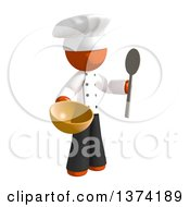 Orange Man Chef Holding A Spoon And Mixing Bowl On A White Background