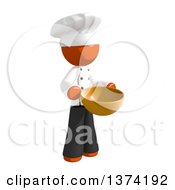 Orange Man Chef Holding A Mixing Bowl On A White Background