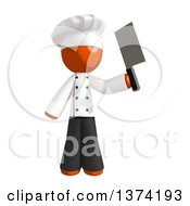 Clipart Of An Orange Man Chef Holding A Cleaver Knife On A White Background Royalty Free Illustration