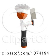 Orange Man Chef Holding A Cleaver Knife On A White Background