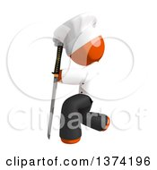 Orange Man Chef Kneeling With A Katana Sword On A White Background