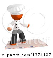 Clipart Of An Orange Man Chef Surfing On An Envelope On A White Background Royalty Free Illustration