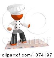 Orange Man Chef Surfing On An Envelope On A White Background