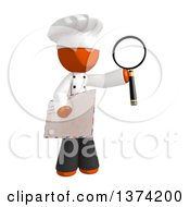 Orange Man Chef Holding An Envelope And Magnifying Glass On A White Background