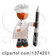 Orange Man Chef Holding An Envelope And Pen On A White Background