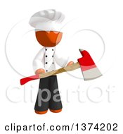 Orange Man Chef Holding An Axe On A White Background