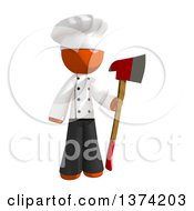 Clipart Of An Orange Man Chef Holding An Axe On A White Background Royalty Free Illustration