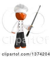 Clipart Of An Orange Man Chef Holding A Katana Sword On A White Background Royalty Free Illustration