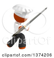 Clipart Of An Orange Man Chef Using A Katana Sword On A White Background Royalty Free Illustration