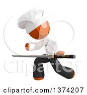 Orange Man Chef Using A Katana Sword On A White Background