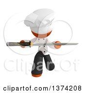 Orange Man Chef Holding A Katana Sword On A White Background