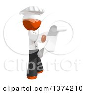 Clipart Of An Orange Man Chef Reading A Scroll On A White Background Royalty Free Illustration