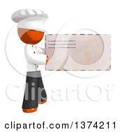 Orange Man Chef Holding An Envelope On A White Background