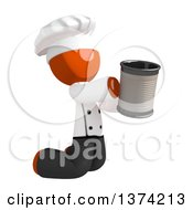 Orange Man Chef Kneeling And Begging On A White Background