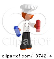 Orange Man Chef Holding Pill Capsules On A White Background
