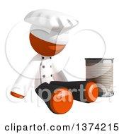 Orange Man Chef Begging On A White Background