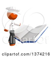 Clipart Of An Orange Man Chef Reading A Book On A White Background Royalty Free Illustration