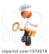 Orange Man Chef Holding A Key On A White Background
