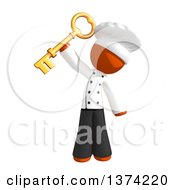 Clipart Of An Orange Man Chef Holding A Key On A White Background Royalty Free Illustration