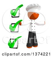 Clipart Of An Orange Man Chef By A Check List On A White Background Royalty Free Illustration