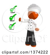 Orange Man Chef Presenting A Check List On A White Background