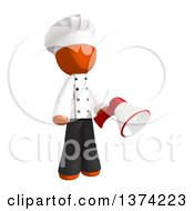Clipart Of An Orange Man Chef Holding A Megaphone On A White Background Royalty Free Illustration by Leo Blanchette