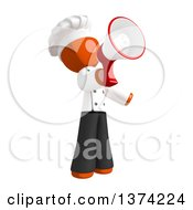 Orange Man Chef Announcing With A Megaphone On A White Background