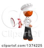 Orange Man Chef Holding A Megaphone On A White Background