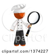 Orange Man Chef Searching With A Magnifying Glass On A White Background