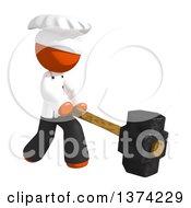 Orange Man Chef Swinging A Sledgehammer On A White Background