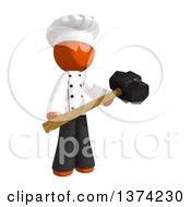 Orange Man Chef Holding A Sledgehammer On A White Background