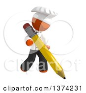 Orange Man Chef Writing With A Pencil On A White Background