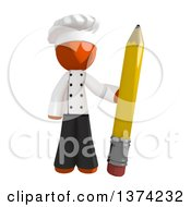 Orange Man Chef Holding A Pencil On A White Background