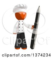 Orange Man Chef Holding A Pen On A White Background