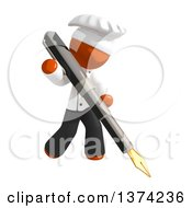 Orange Man Chef Writing With A Fountain Pen On A White Background