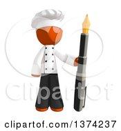 Orange Man Chef Holding A Fountain Pen On A White Background
