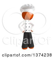 Orange Man Chef Standing With Hands On His Hips On A White Background