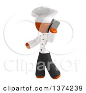 Orange Man Chef Talking On A Smart Phone On A White Background